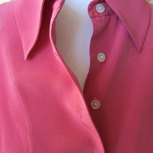 Casual Corner Tops - Casual Corner Silk Career Pink Blouse SZ 8